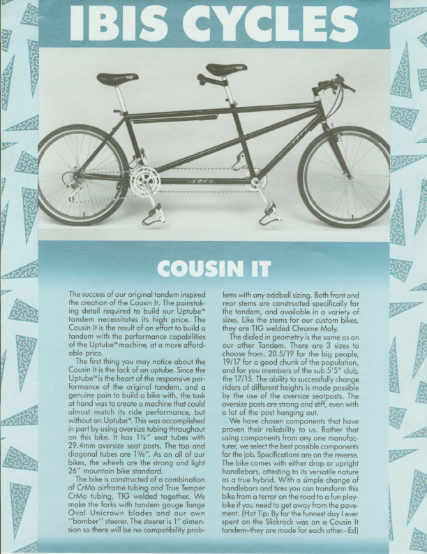 Ibis 1989 Dealer Catalog - Cousing It Tandem